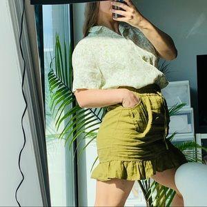 Athleta 100%Linen Military Camo Green Ruffle Skirt